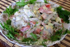 Грибной салат с куриными сердечками