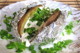 Картофель запеченный с салом в фольге