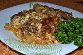 Куриная печень с шампиньонами в духовке