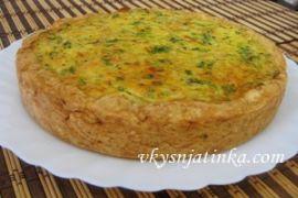 Луковый пирог с плавленым сыром - фото