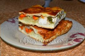 Пирог с курицей из слоеного теста - фото