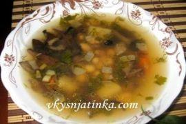Постный суп с грибами и фасолью