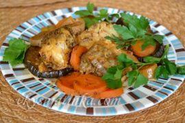 Рыба, запеченная в духовке с овощами - фото