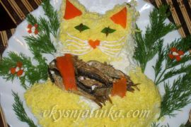 Салат со шпротами «Кот на рыбалке» - фото