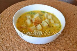 Суп из тыквы и плавленного сыра с беконом