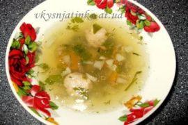 Суп с фрикадельками из свиного фарша - фото