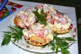 Тарталетки с креветками - фото
