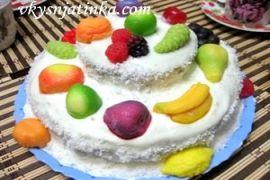 Торт «Птичье молоко» с манкой и лимоном