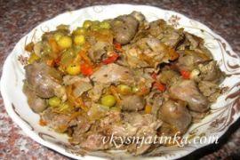Тушеные куриные потроха на сковороде