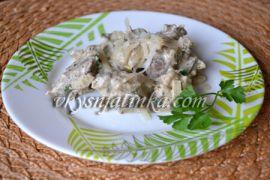 Жареная куриная печень в сметане