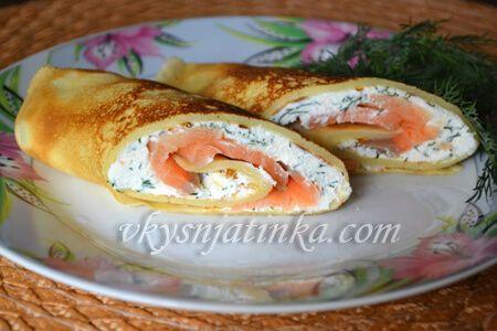 Канапе из блинов с красной рыбой , пошаговый рецепт с фото