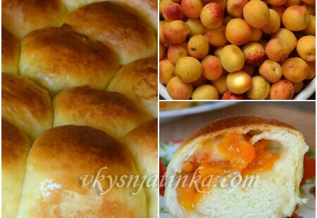 Булочки с абрикосами - фото