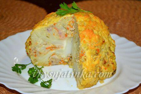 Фаршированная цветная капуста запеченная в духовке - фото