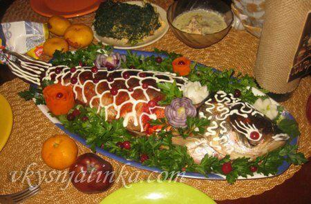 Фаршированная рыба в духовке - фото