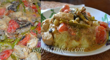 Куриное филе тушеное с овощами - фото