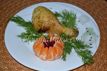 Куриные ножки с мандаринами в духовке - фото