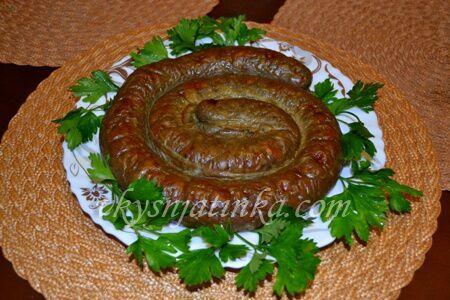 Домашняя печеночная колбаса в кишке - фото