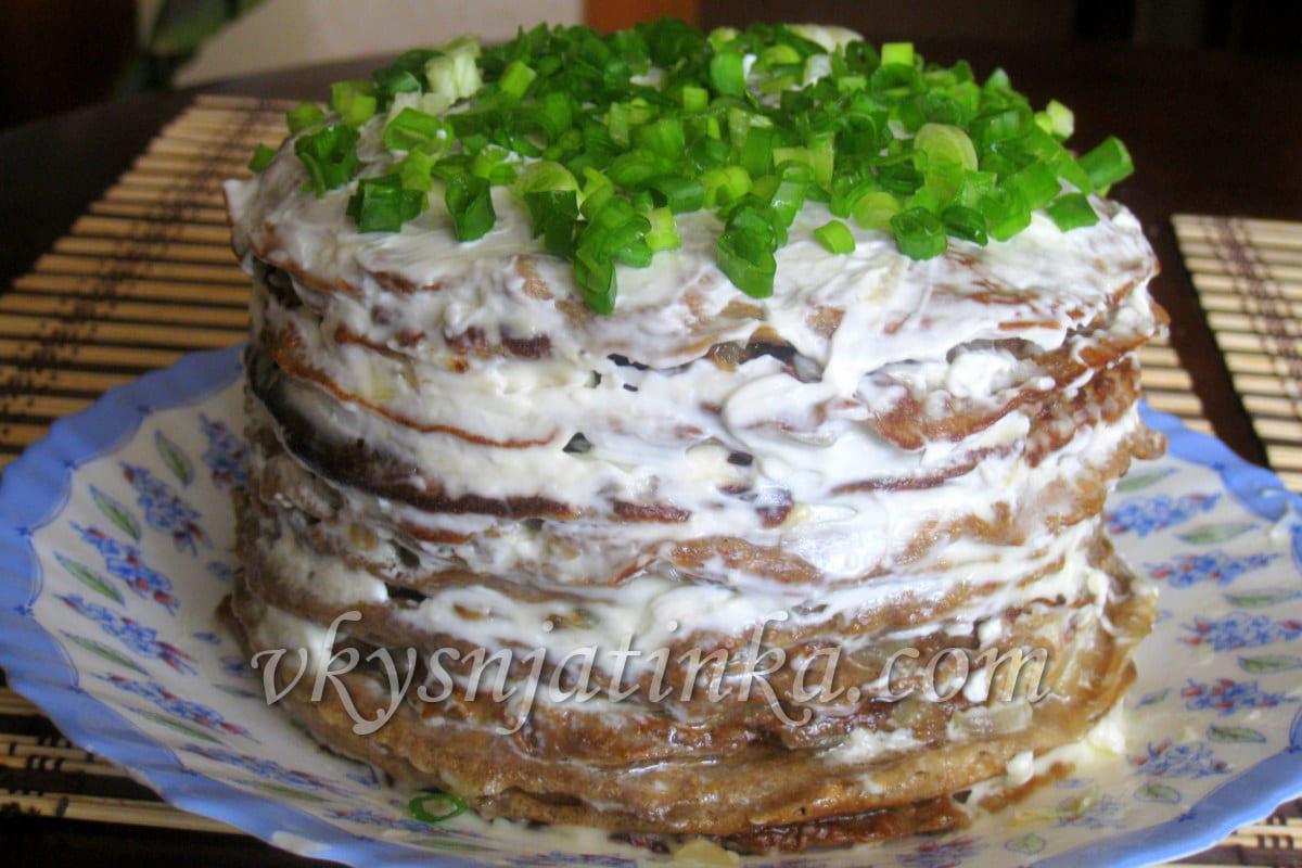 Печеночный торт из говяжьей печени - фото