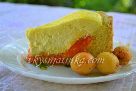 Пирог с абрикосами и творогом - фото
