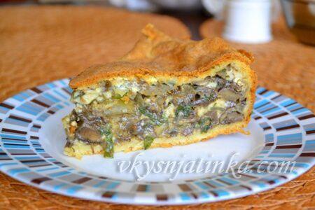 Пирог с грибами и сыром - фото