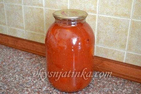 Помидоры в томатном соке на зиму - фото
