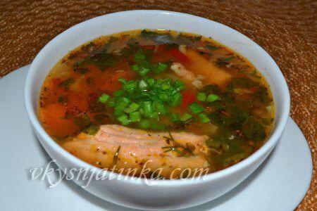 Вкусный суп из красной рыбы - фото
