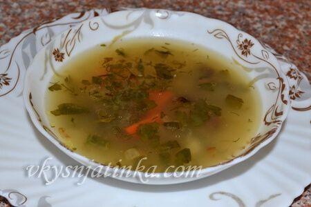 Грибной суп из замороженных маслят - фото