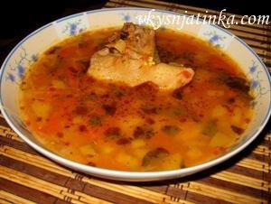 Суп с баклажанами на курином бульоне - фото