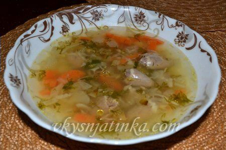 Суп с куриными сердечками и сельдереем - фото