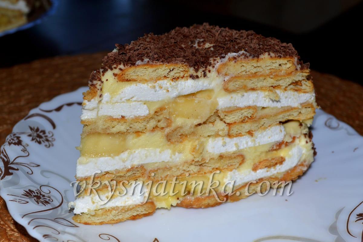 Торт без выпечки из печенья - фото