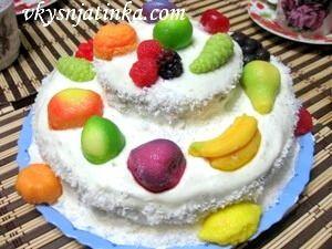 Торт «Птичье молоко» с манкой и лимоном - фото