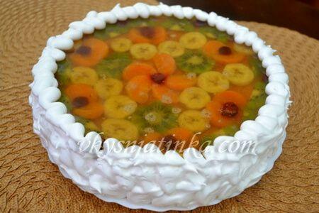 Торт с желе и фруктами - фото