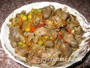 Тушеные куриные потроха на сковороде - фото