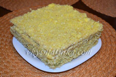Вафельный торт с медом из готовых коржей - фото