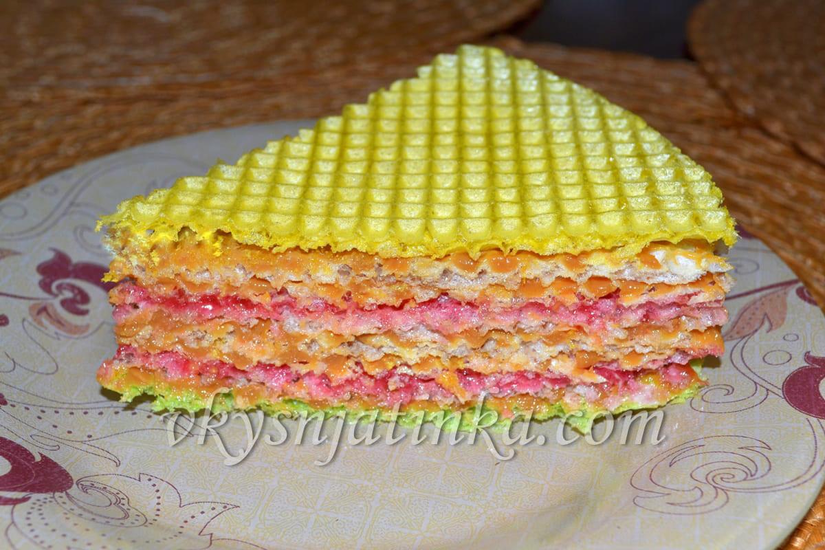 Вафельный торт с вареной сгущенкой - фото