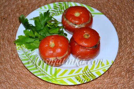 Запеченные фаршированные помидоры с шампиньонами - фото